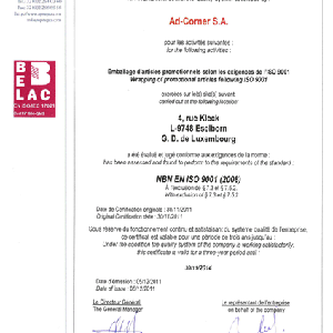 Certification ISO 9001 Certification ISO 9001